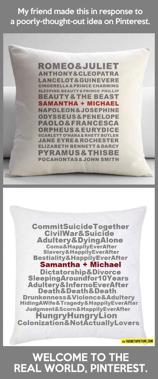 Welcome to the real world pillow…