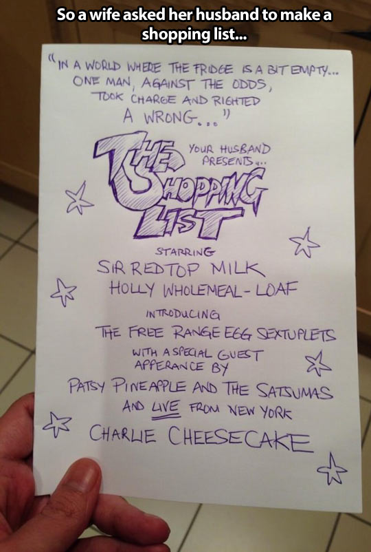 The shopping list…
