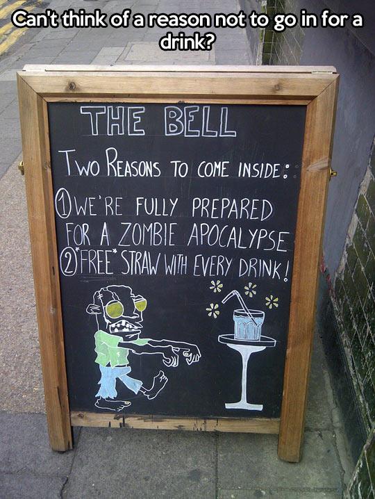 funny-sign-bar-reasons-zombie-apocalypse