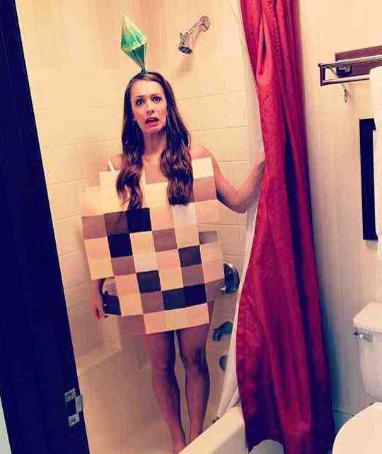 funny-woman-shower-Sims-game-costume