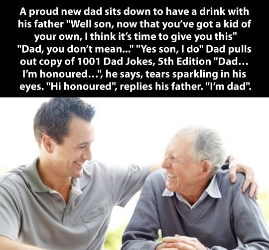 Dad gives something to his son