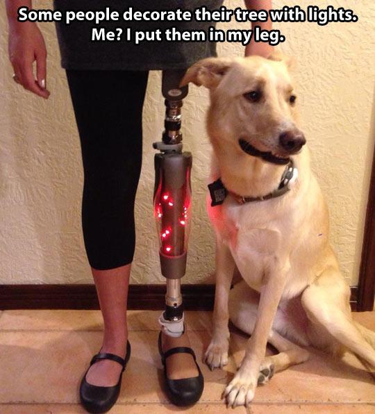 Christmas lights in my leg…