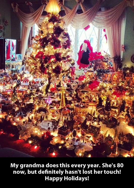 Christmas town at grandma's living room…
