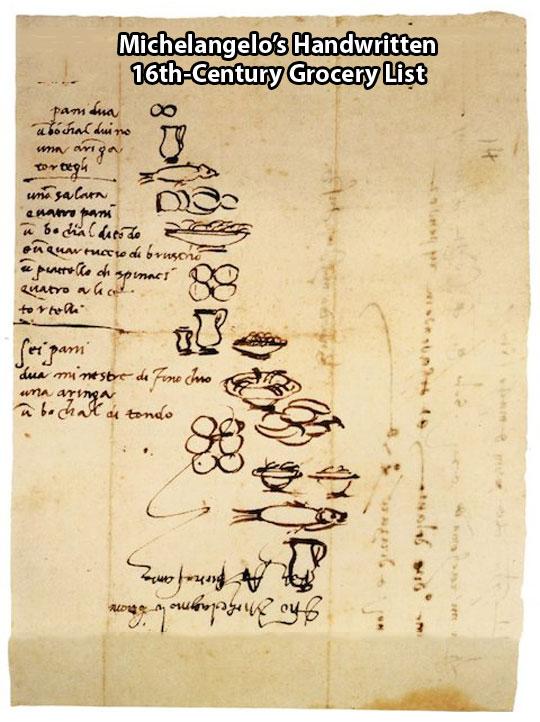 Michelangelo's grocery list…
