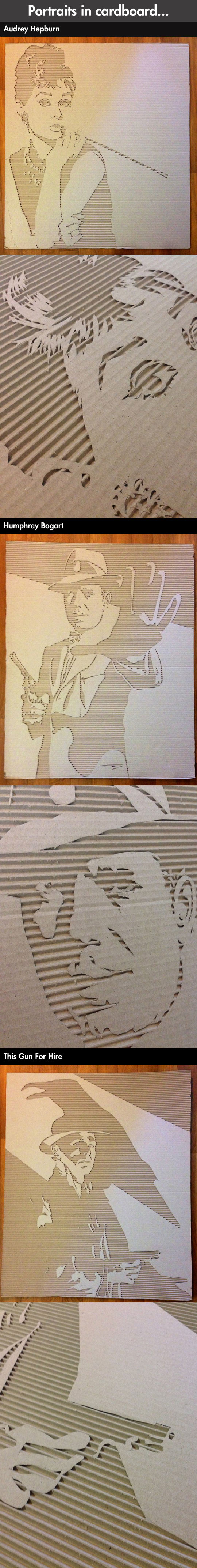 Carving portraits into cardboard…