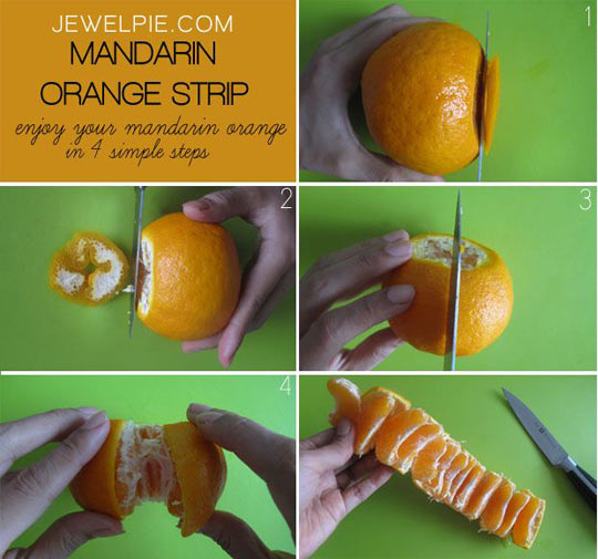 Easy way to peal a mandarin orange…