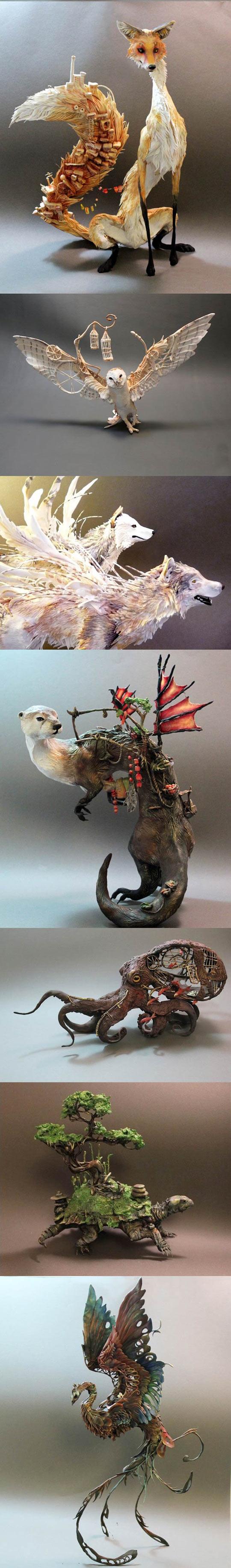 cool-sculpture-animals-boar-wolf