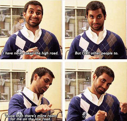 funny-Aziz-Ansari-high-road-low-empty