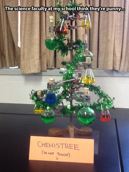 Chemistry lab Christmas tree…