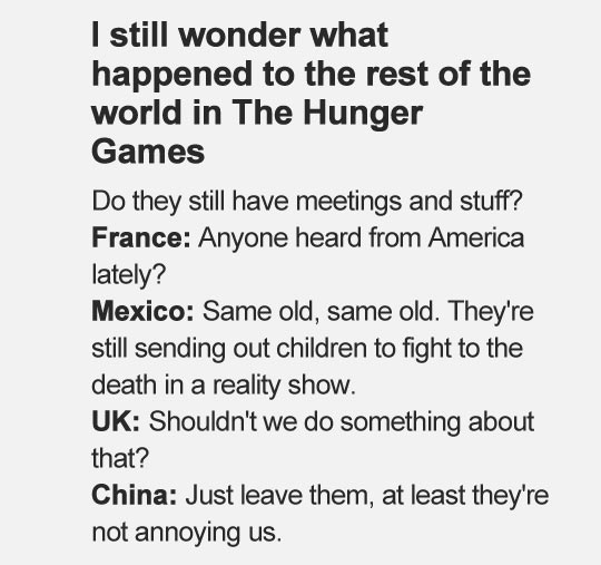 What happened to the rest of the world in The Hunger Games…