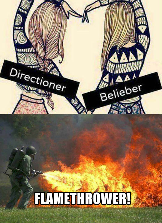 funny-One-Direction-Bieber-fans-flamethrower