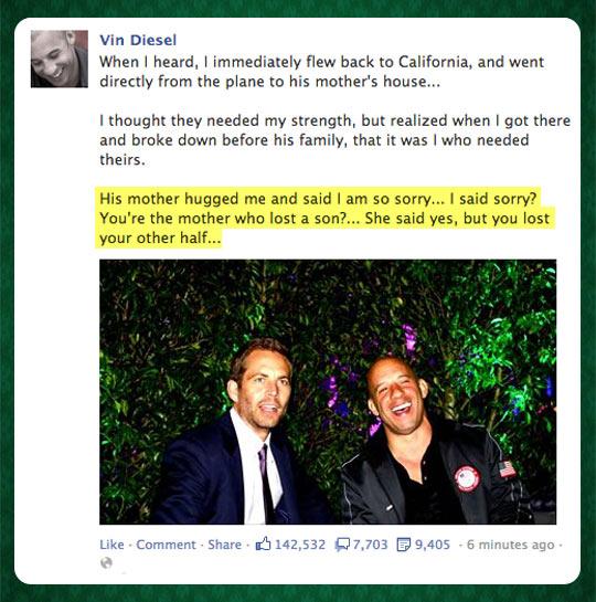 Vin Diesel on Paul Walker's death…