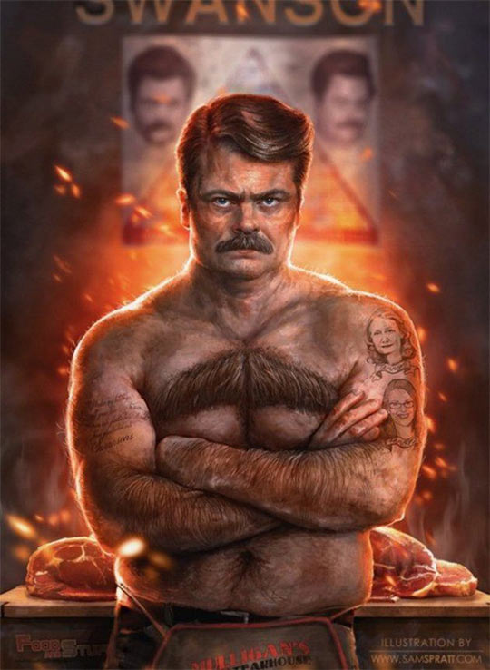 funny-Ron-Swanson-mustache-chest-fire