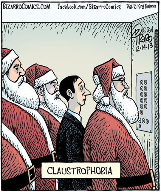Phobia to be trap in a elevator with bunch of Santas…