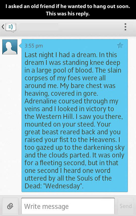 Last night I had a dream…