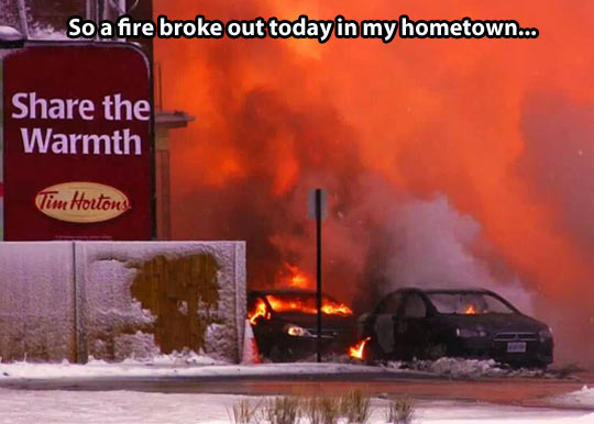 funny-fire-cars-Tim-Hortons-snow