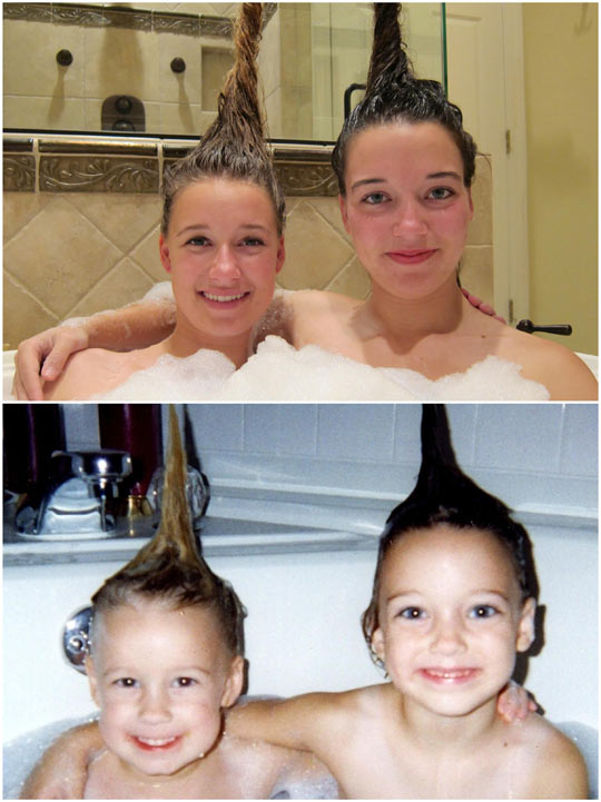 Then and now: my sister and I in 1998 and 2013…