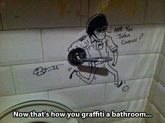 Clever bathroom graffiti…