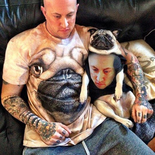 Husband in pug shirt, pug in husband shirt…