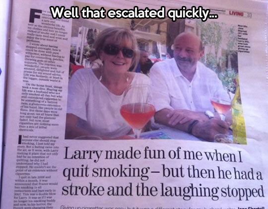 The laughing stopped quickly…