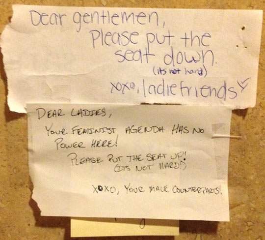 The girls left a note in the employee bathroom at work…
