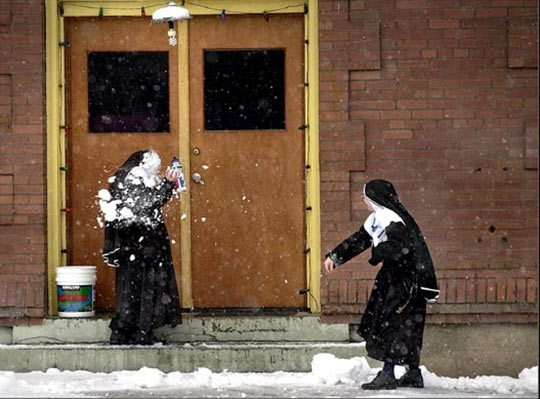 Sisters having a snow fight…