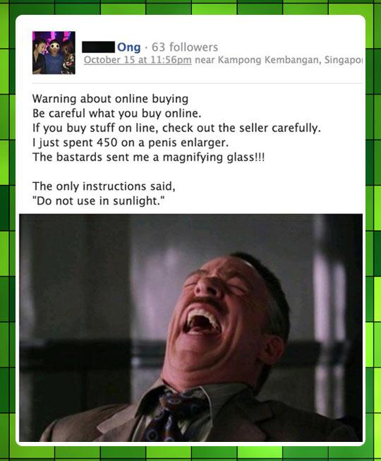 Beware of online buying…