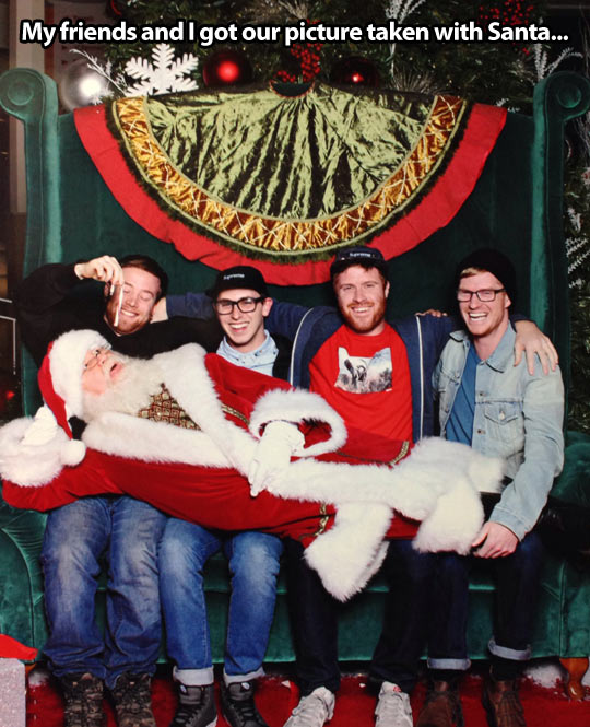 Just me and my friends, hanging out with Santa…