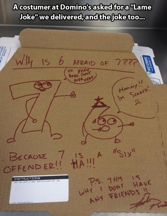 Lame pizza joke…