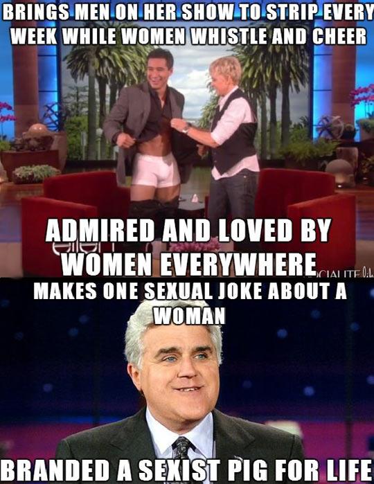 funny-show-Ellen-Jay-Leno-joke-woman-sexist