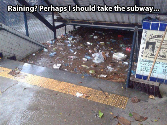 funny-subway-water-rain-flood-garbage
