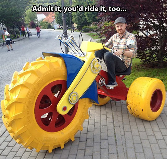 funny-tricycle-man-ride-wheels