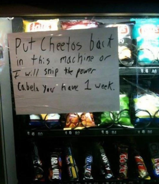 You don't mess with someone's Cheetos…