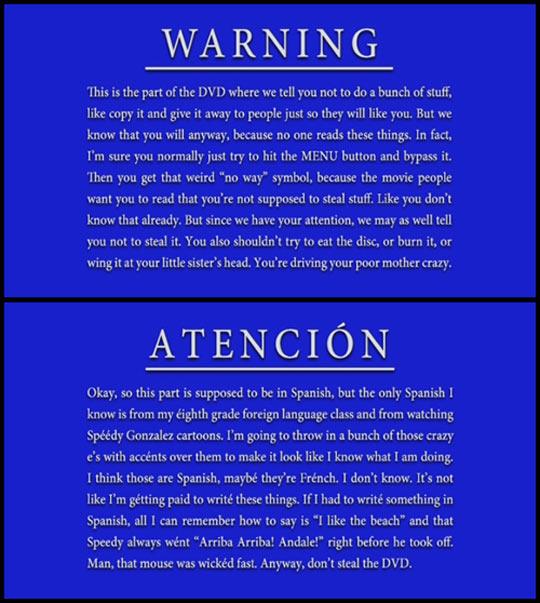 DVD's anti piracy warnings…