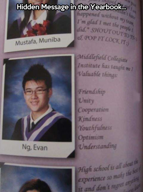 A yearbook's hidden message…