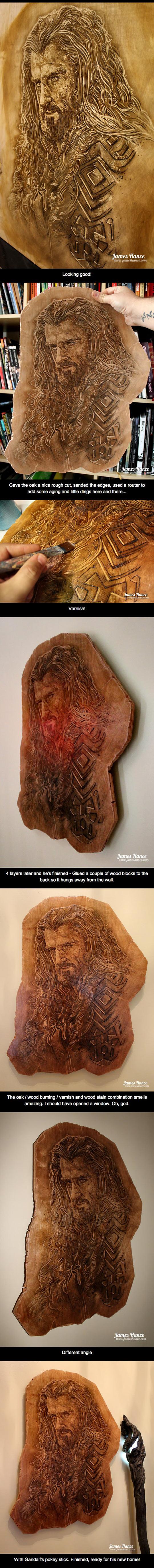 Thorin-Oakenshield-wood-carving-oak-art