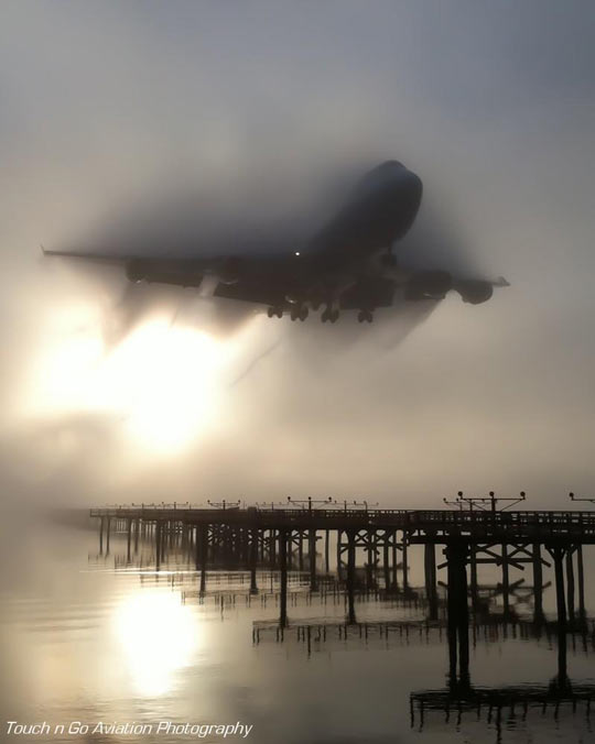 747 cutting through the fog…