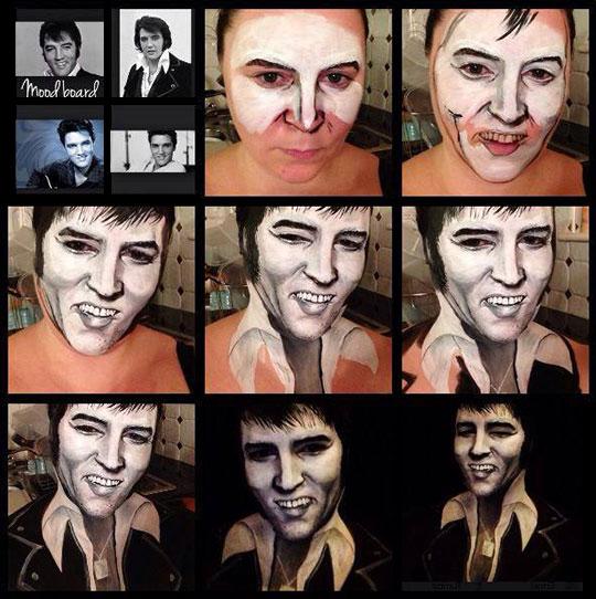 cool-Elvis-makeup-painting-black-white