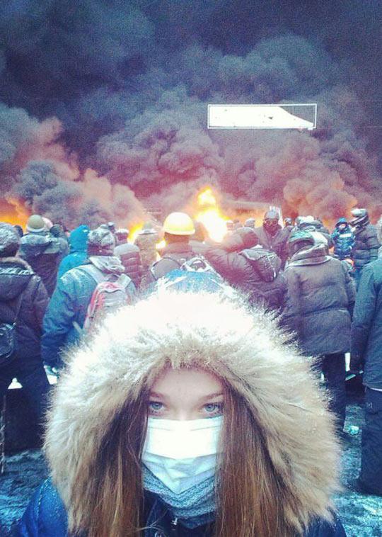 Protesting girl in Ukraine…