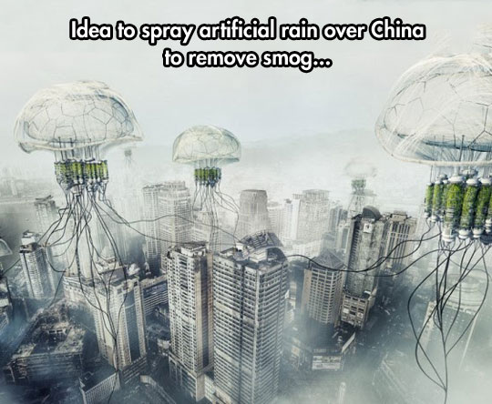 Artificial rain to remove smog in China…