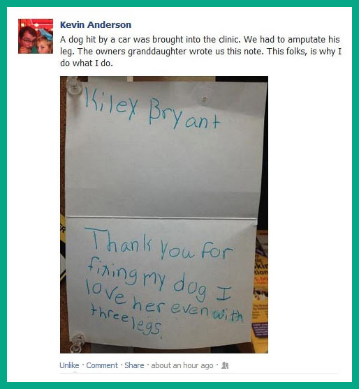 Vet receives a letter from a girl…
