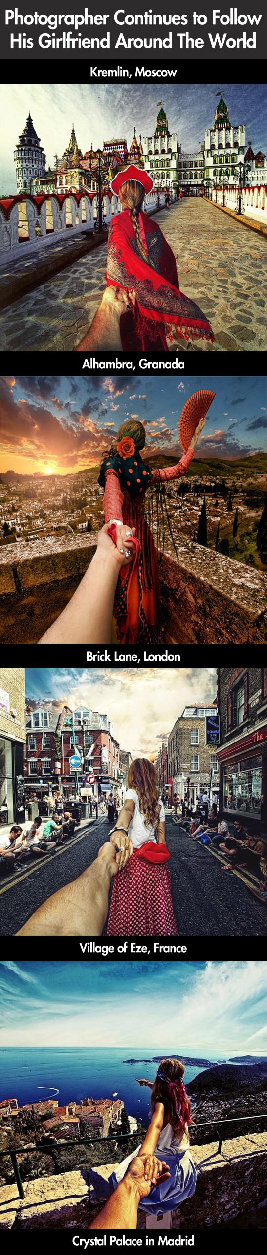 Photographer follows his girlfriend around the world...