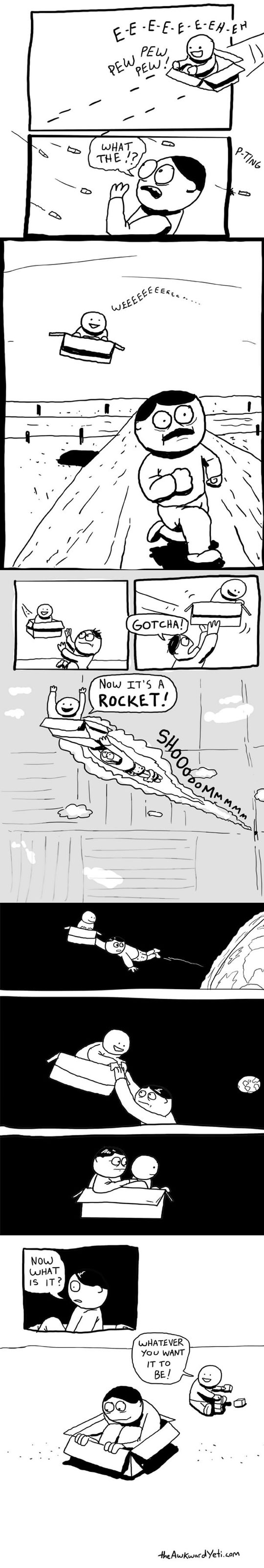 cool-webcomic-childhood-box-imagination-playing