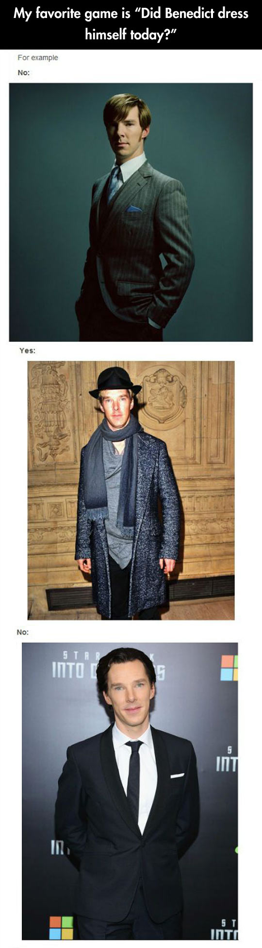 Did Benedict dress himself today?