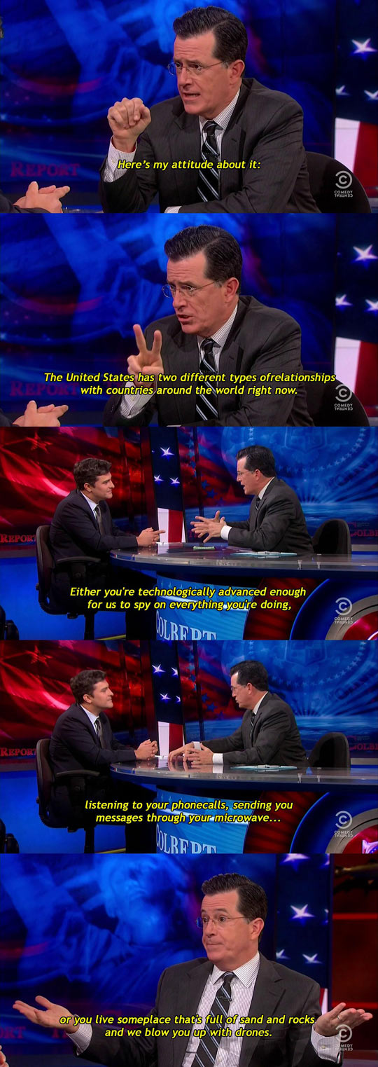 Colbert on U.S. relations with the rest of the world…