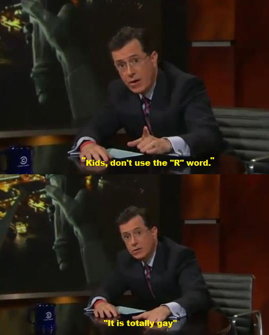 Colbert on the word retarded…