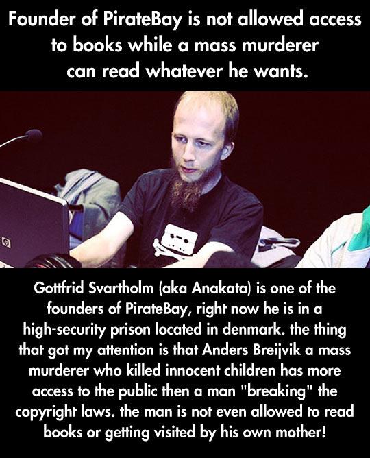He can't read books but a mass murderer can…