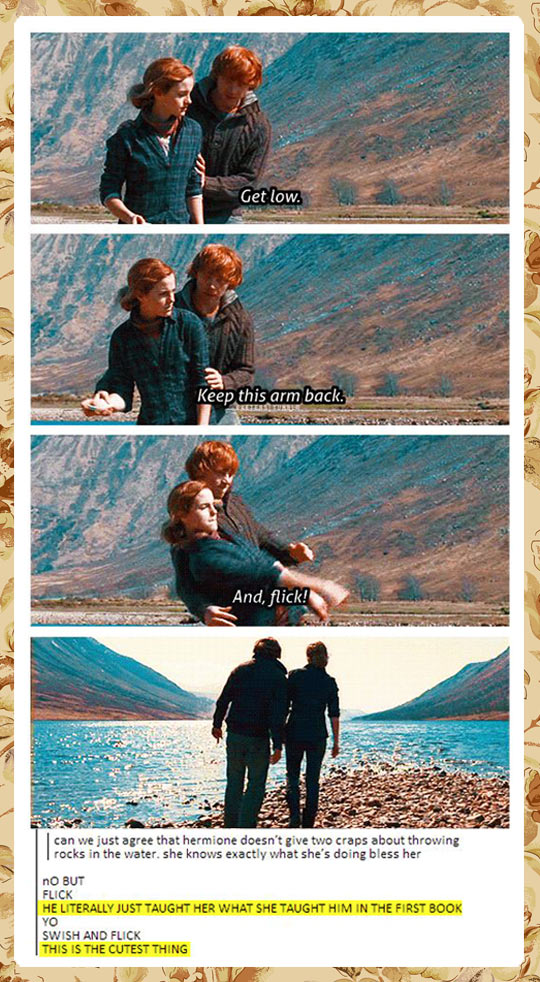 funny-Hermione-Ron-lake-throwing-rocks
