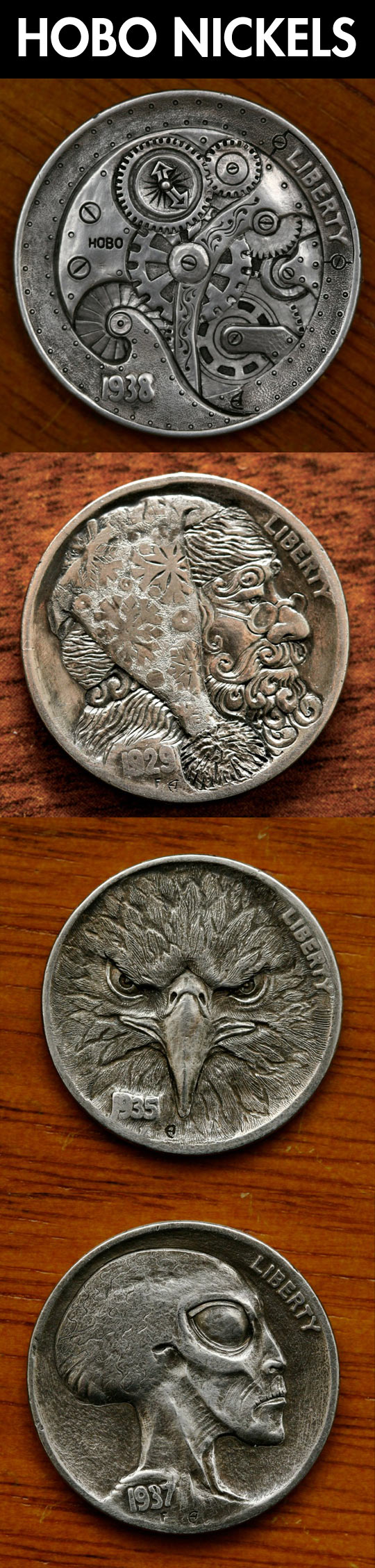 Sculptural art form involving the creative modification of small-denomination coins...
