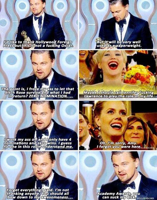 Legendary Leo's speech at the Golden Globe Awards…